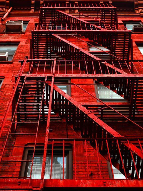 Red apartment building Wall Mural-Urban-Eazywallz
