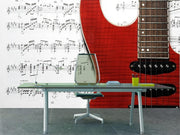 Red electric guitar and music sheet Wall Mural-Arts-Eazywallz