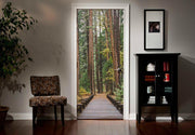 Red Wood Forest Pathway Door Mural-Landscapes & Nature,Zen-Eazywallz