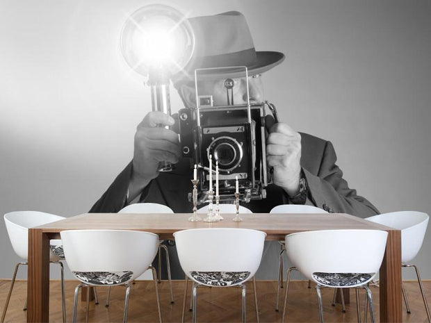 Retro photographer Wall Mural-Arts,Black & White,Vintage-Eazywallz