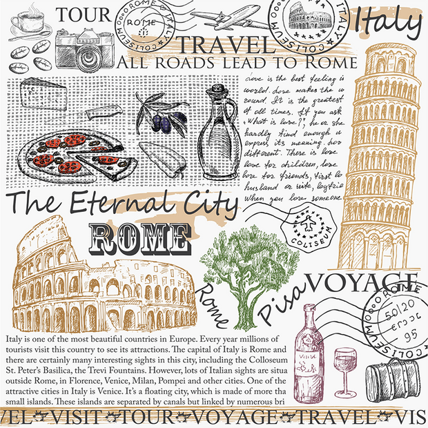 Rome, Italy Travel Card Wall Mural-Food & Drink-Eazywallz