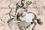 Sagittarius Constellation Map in Beige Wall Mural-astrology-Eazywallz