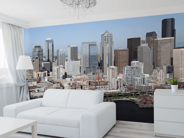 Seattle Skyline Wall Mural-Cityscapes-Eazywallz