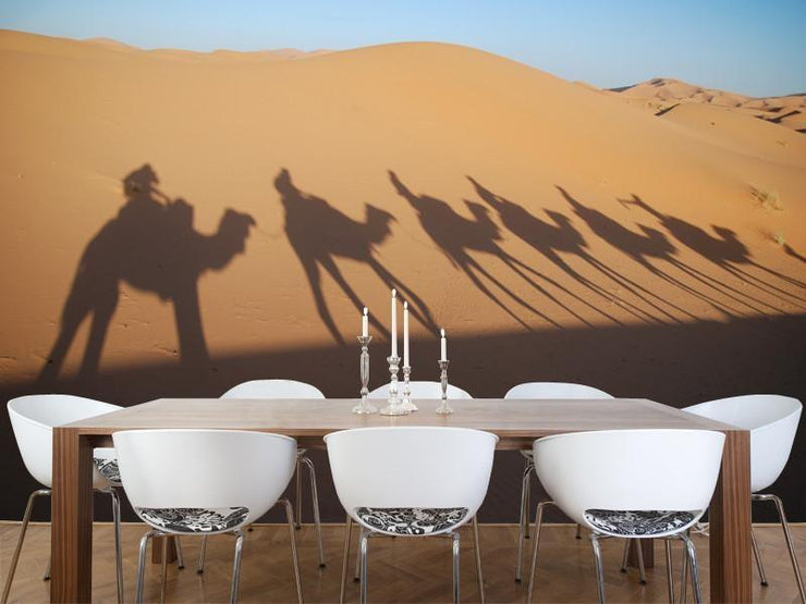 shadows of camel riders Wall Mural-Animals & Wildlife,Landscapes & Nature-Eazywallz
