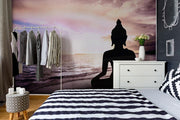 Silhouette of Buddha at the beach Wall Mural-Landscapes & Nature,Zen,Tropical & Beach-Eazywallz