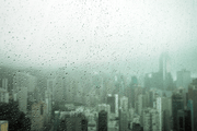 Skyline Storm Behind Glass Wall Mural-Cityscapes-Eazywallz
