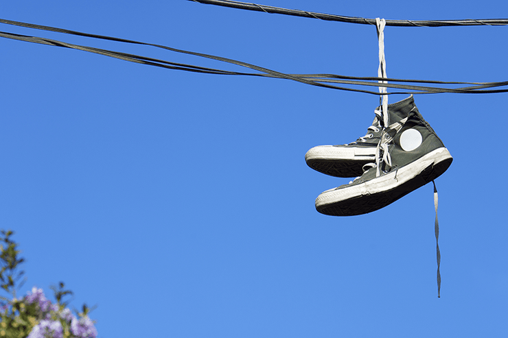 Sneakers over the Wire Wall Mural-Urban,Vintage-Eazywallz