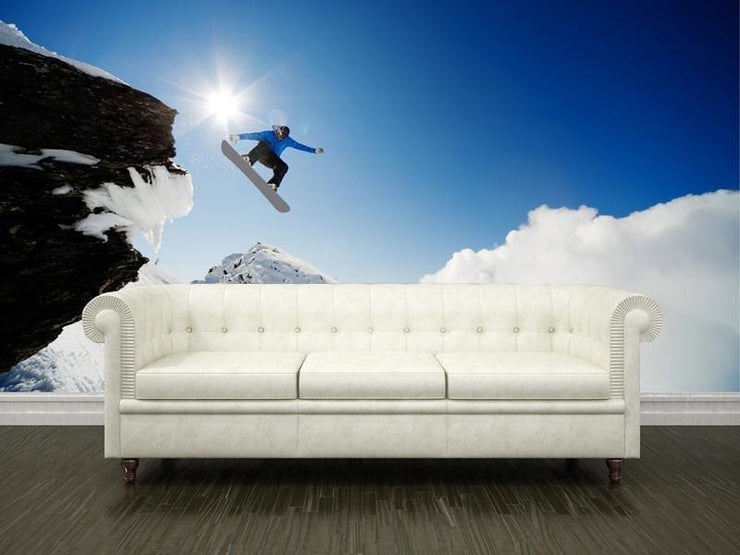 Snowboarder in the air Wall Mural-Sports-Eazywallz