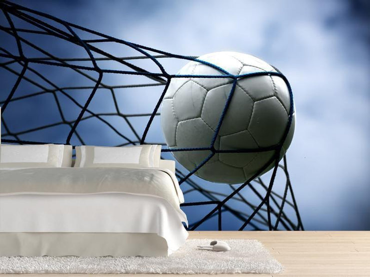 Soccer ball in the goal Wall Mural-Sports-Eazywallz