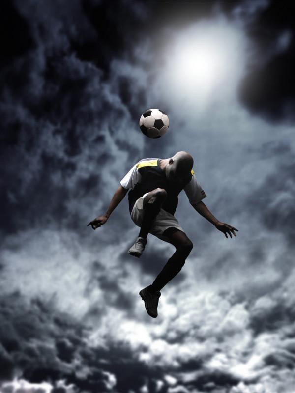 Soccer player jumping Wall Mural-Sports-Eazywallz
