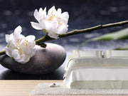 Stacked stones and white flower Wall Mural-Zen,Featured Category of the Month-Eazywallz