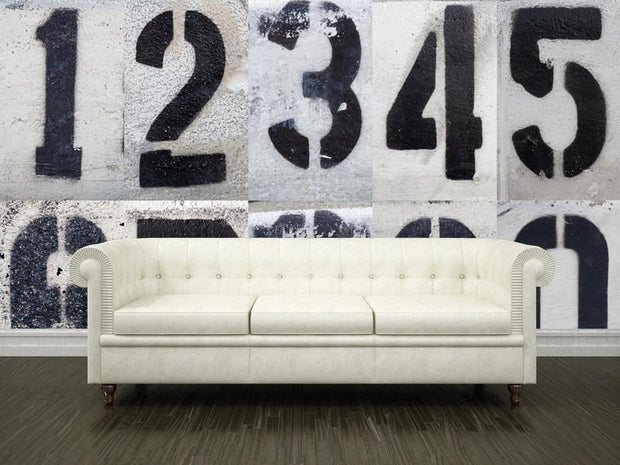 Stenciled numbers Wall Mural-Urban,Staff Favourite Murals-Eazywallz