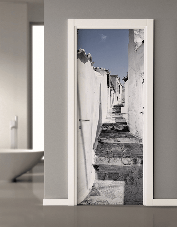 Street in Greece Door Mural-Black & White,Buildings & Landmarks-Eazywallz