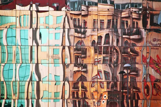 Street Mirrored in Glass Building Mural-Abstract,Buildings & Landmarks-Eazywallz
