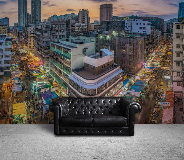 Streets of Hong Kong at Night Wall Mural-Cityscapes-Eazywallz
