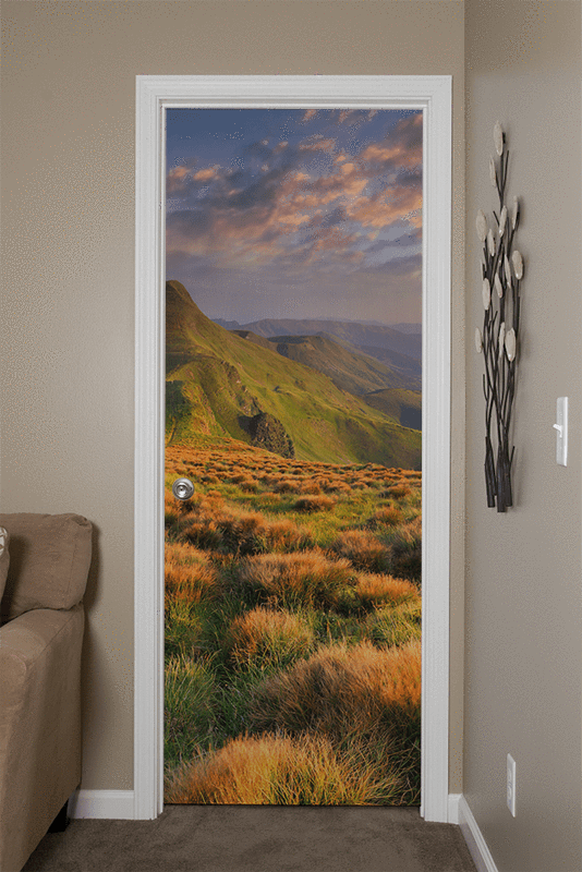 Summer Landscape in the Mountains Door Mural-Landscapes & Nature-Eazywallz