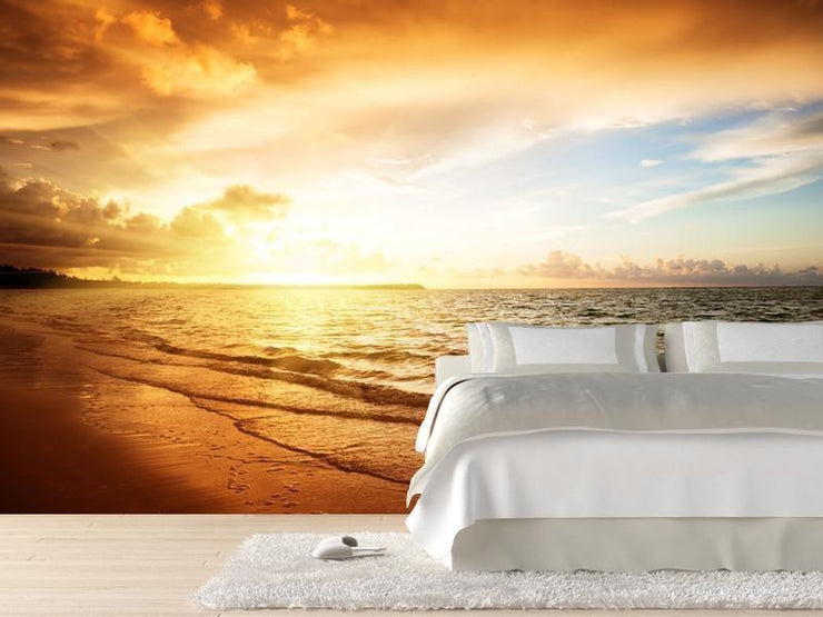 Sunrise over the ocean Wall Mural-Landscapes & Nature,Tropical & Beach-Eazywallz