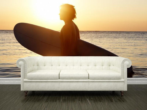 Surfer at sunset Wall Mural-Sports-Eazywallz