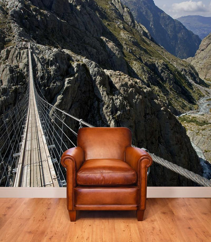 Suspension Bridge in the Alps Wall Mural-Landscapes & Nature-Eazywallz