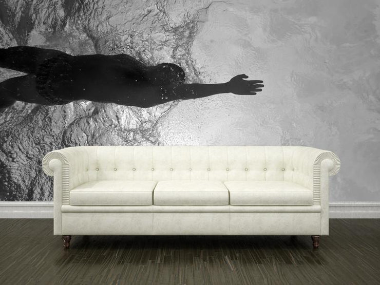Swimming underwater view Wall Mural-Black & White,Sports-Eazywallz