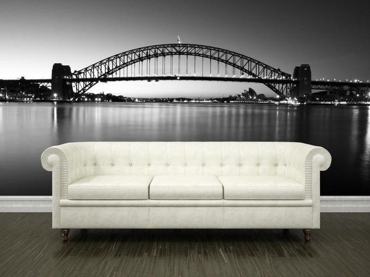Sydney Harbour Bridge, Australia Wall Mural-Black & White,Buildings & Landmarks-Eazywallz