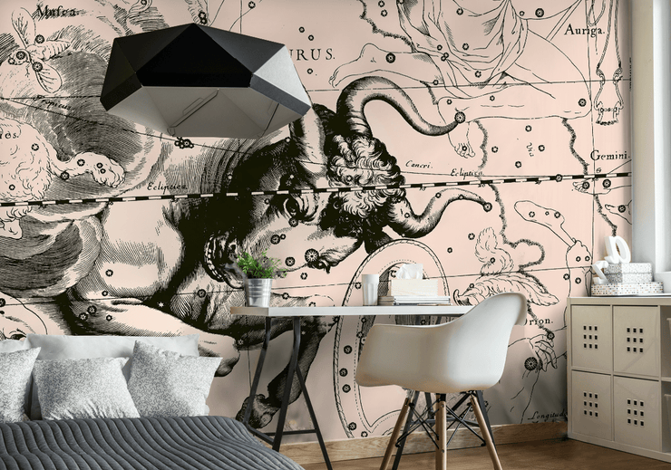 Taurus Constellation Map in Beige Wall Mural-astrology-Eazywallz