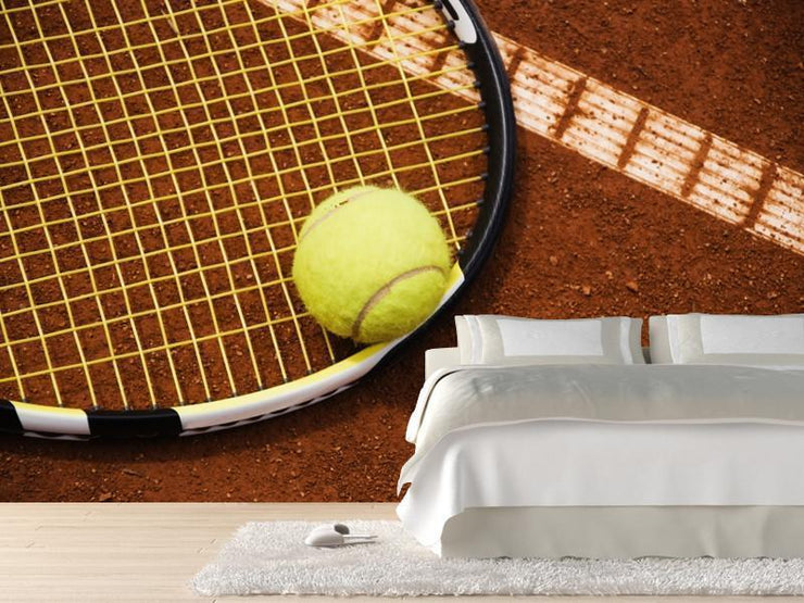 Tennis racket and ball on clay Wall Mural-Sports-Eazywallz