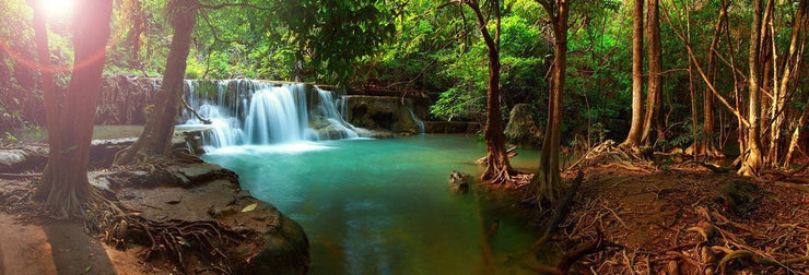 Thailand Waterfall Panorama Wall Mural-Landscapes & Nature,Panoramic-Eazywallz
