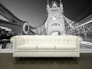Tower Bridge in black and white Wall Mural-Black & White,Buildings & Landmarks,Urban-Eazywallz
