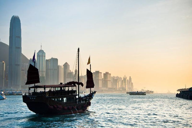 Traditional Chinese Boat against Hong Kong skyline Wall Mural-Cityscapes,Transportation-Eazywallz