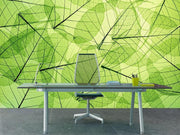 Transparent green leaves Wall Mural-Macro,Textures-Eazywallz