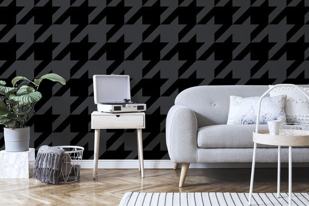 Trendy black houndstooth pattern Wall Mural