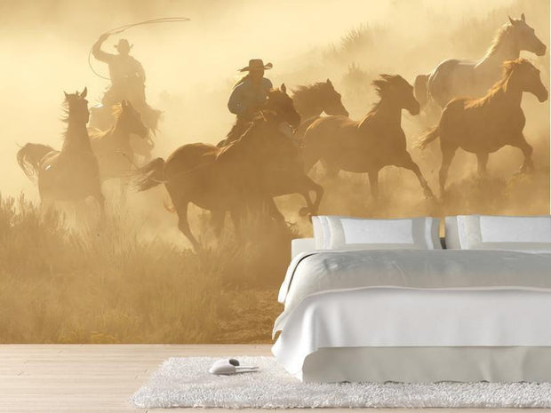 Two cowboys galloping Wall Mural-Animals & Wildlife,Vintage-Eazywallz