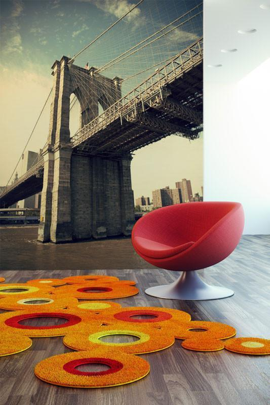 Vintage Brooklyn Bridge Wall Mural-Buildings & Landmarks,Cityscapes,Urban,Vintage,Featured Category-Eazywallz