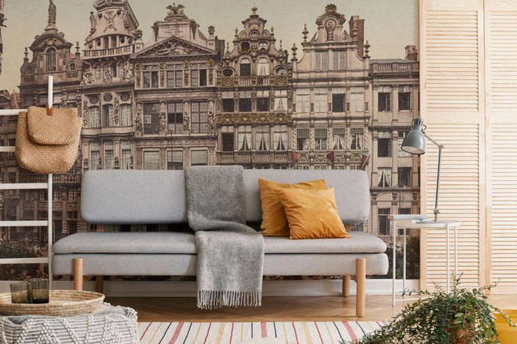 Vintage Grand Place, Belgium Wall Mural-Arts-Eazywallz