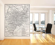 Vintage Map of Tokyo Wall Mural-Black & White,Maps-Eazywallz