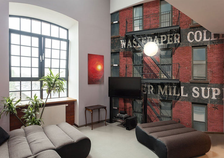 Vintage Red Brick Building Wall Mural-Vintage-Eazywallz