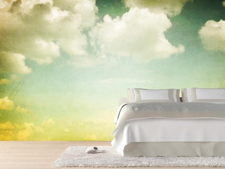 Vintage styled cloudy sky Wall Mural-Landscapes & Nature,Vintage,Best Seller Murals-Eazywallz