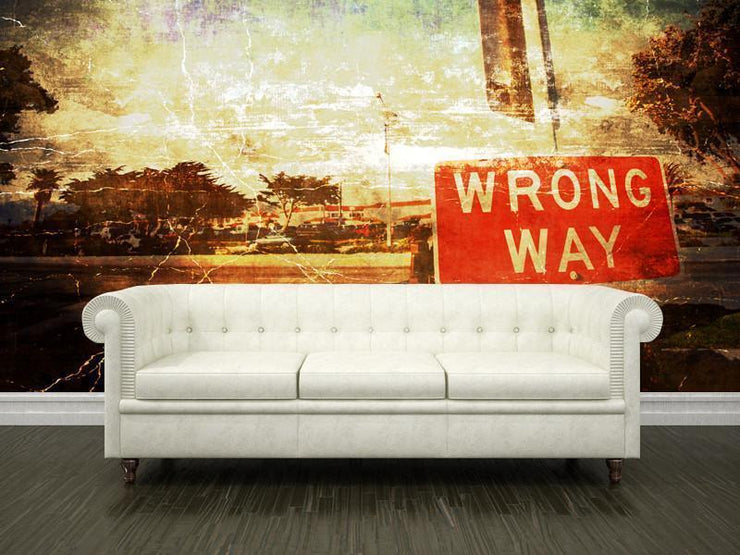 Vintage wrong way sign Wall Mural-Urban,Vintage-Eazywallz