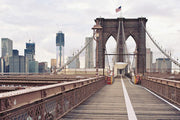 Walking on The Brooklyn Bridge Wall Mural-Buildings & Landmarks,Cityscapes,Urban,Featured Category-Eazywallz