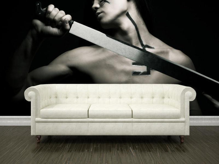 Warrior with katana Wall Mural-Black & White,Sports-Eazywallz