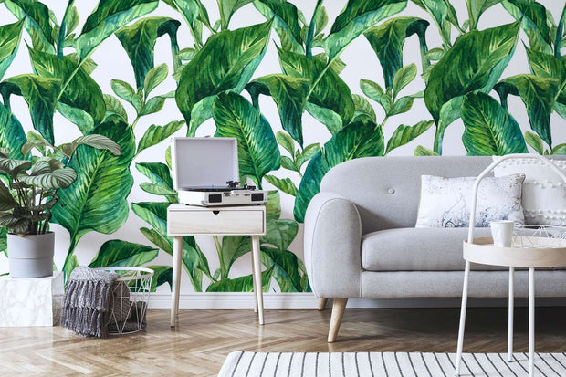 Exotic Leaves in Watercolour Wallpaper Mural