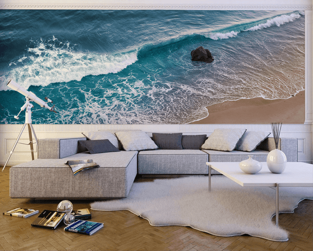 Wave Breaking in California Wall Mural-Tropical & Beach-Eazywallz
