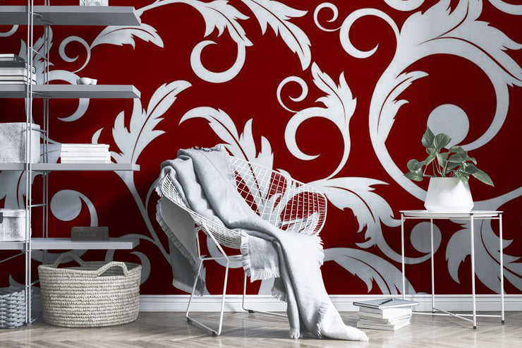 White abstract plants on a red background Wall Mural