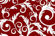 White abstract plants on a red background Wall Mural-Patterns-Eazywallz
