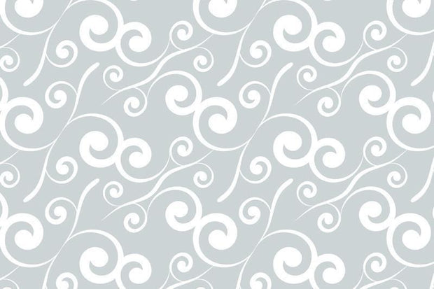 White curly plants pattern Wall Mural-Patterns-Eazywallz
