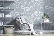 White curly plants pattern Wall Mural