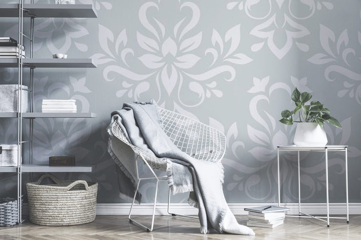 White floral damask Wall Mural