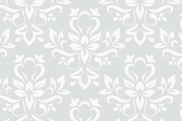 White floral damask Wall Mural-Patterns-Eazywallz
