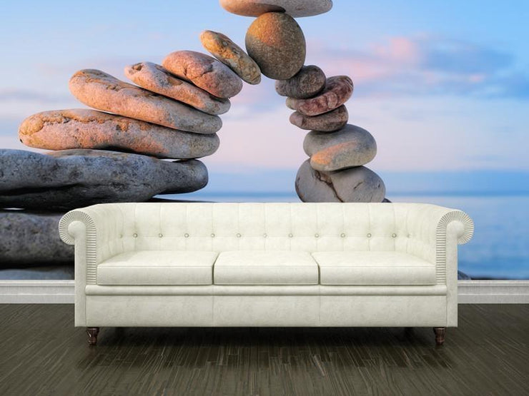 White pebbles on the shore at sunrise Wall Mural-Landscapes & Nature,Zen-Eazywallz